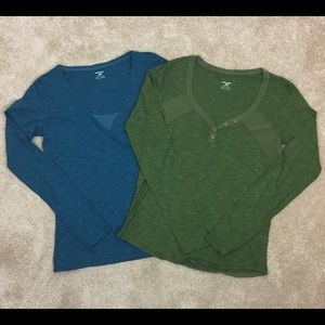 2 Lot HORNY TOAD Fitted YOGA Tunic V Neck SHIRTS
